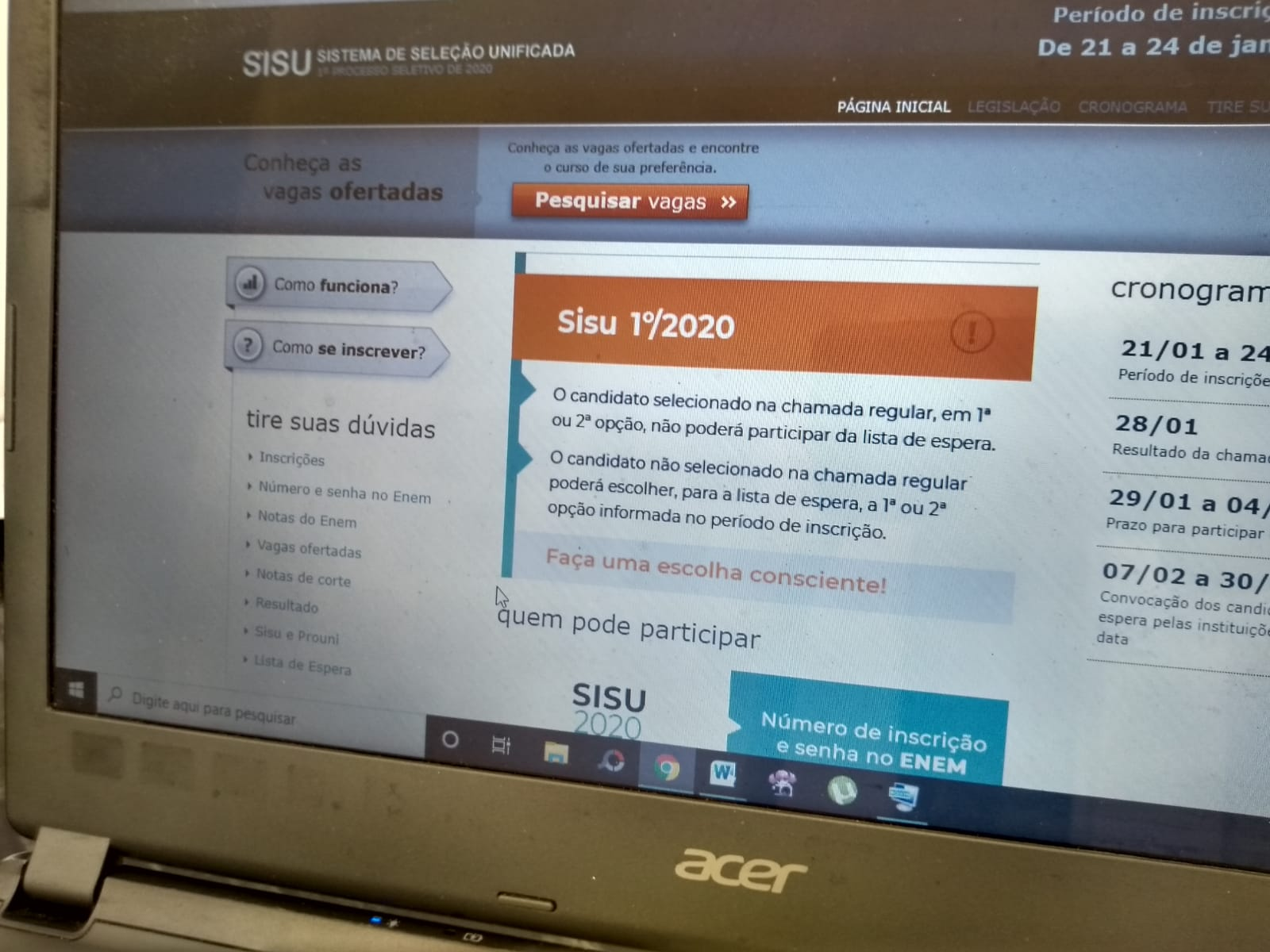 Portal do Sisu na internet (Foto: Esmerino de Lima)